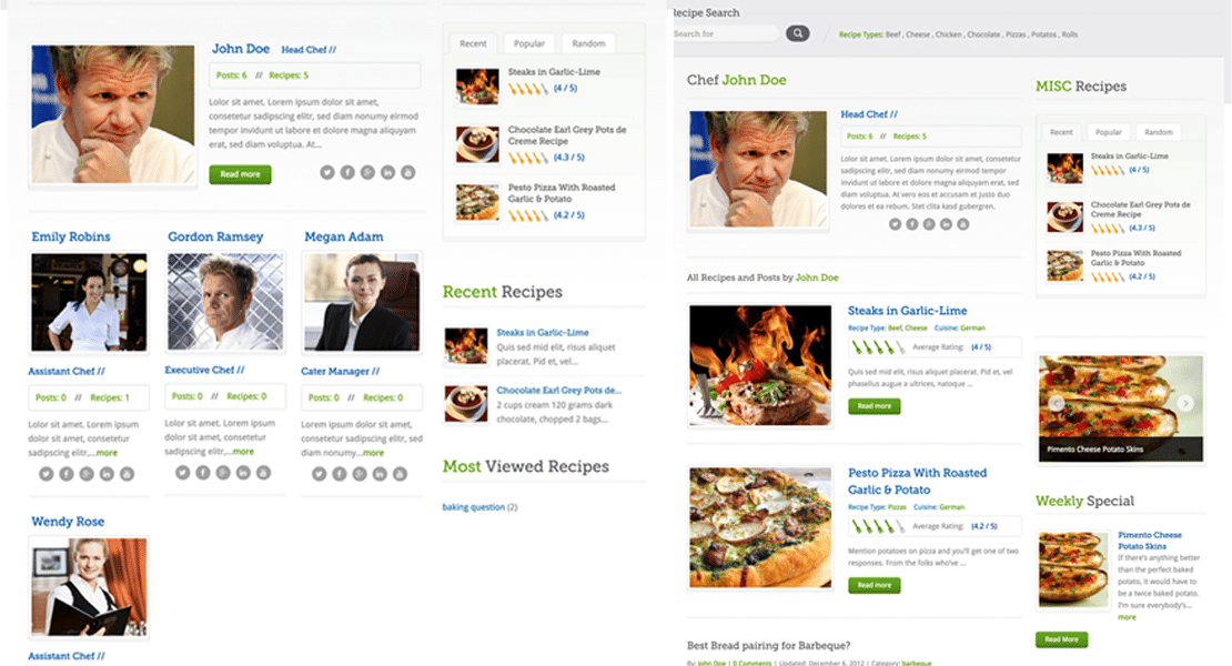 Chef Listing and Single templates