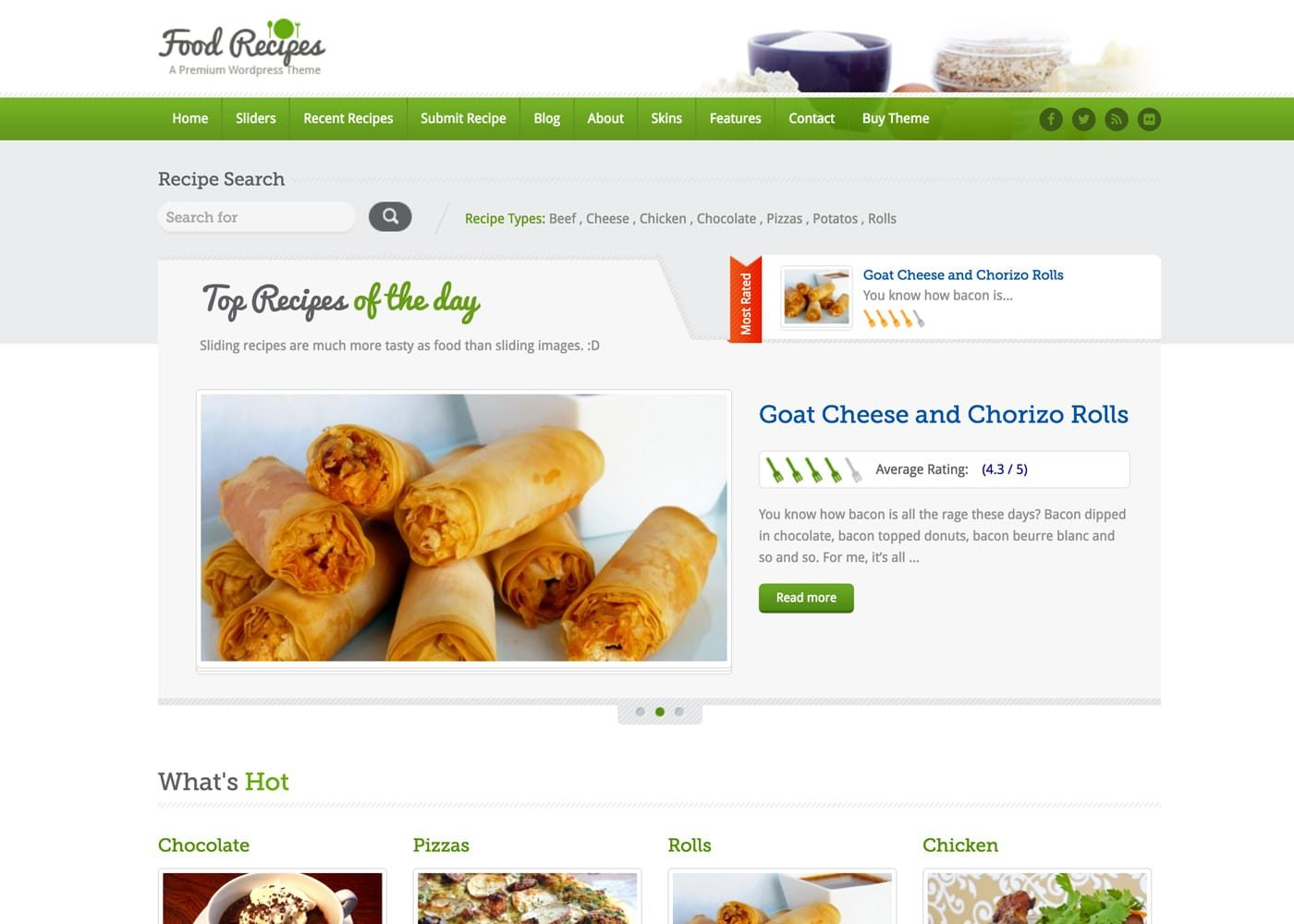 Food Recipes WordPress Theme