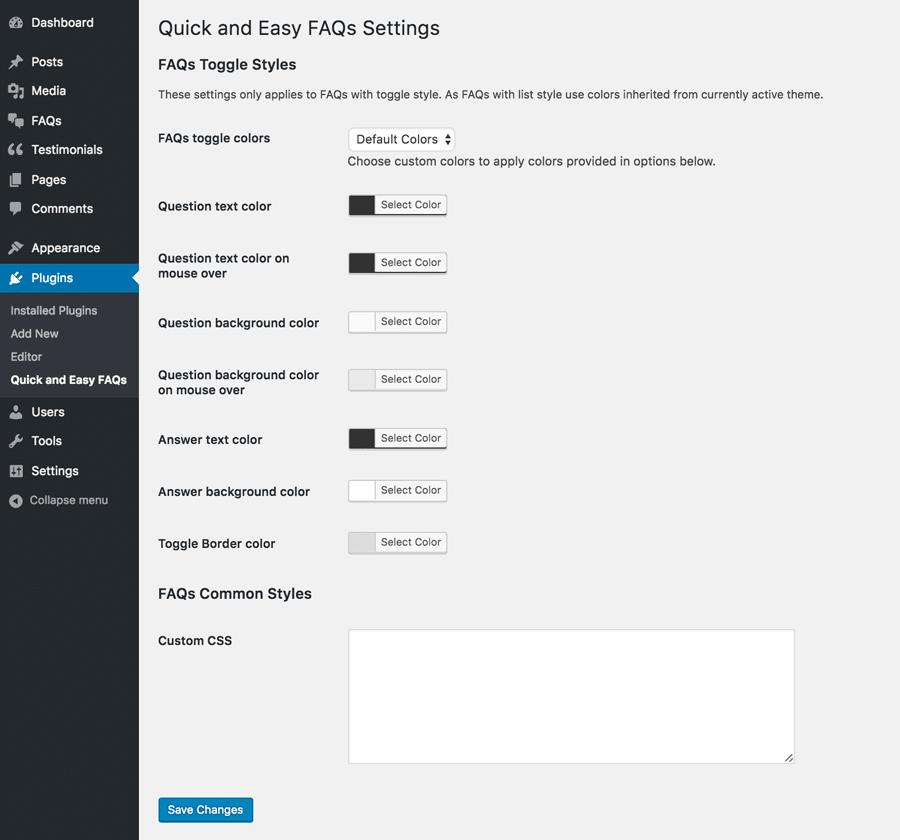 FAQs Plugin Settings