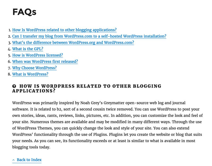 FAQs Shortcode