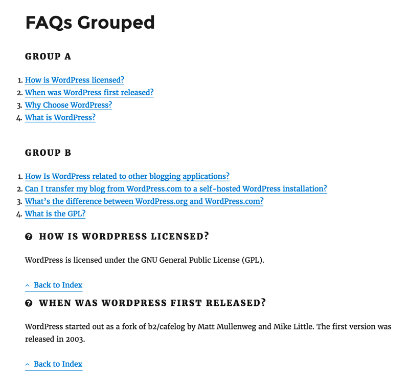 FAQs Grouped