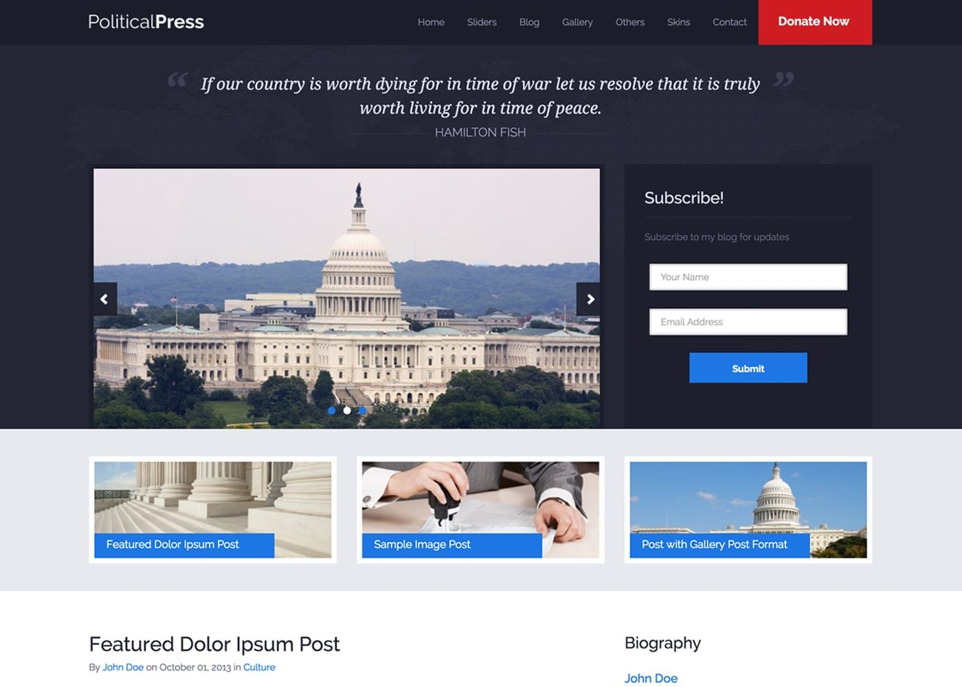 Political Press WordPress Theme